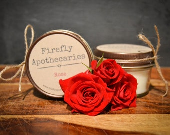 100% Pure Soy Rose candles, mason jar candles by Firefly & Co