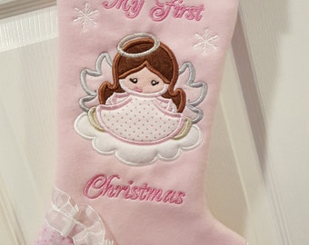 Baby My First Christmas Stocking, Baby Girl Christmas Stocking, Girl Christmas Stocking, Pink Christmas Stocking, Personalized Stocking