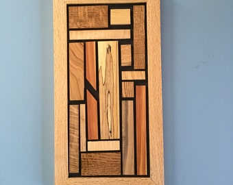 Handmade Modern Wood Wall Art with 1/4 sawn Oak frame