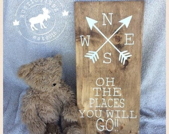 Oh the Places You Will Go Wood Nursery Sign // nursery // nursery decor // the place you will go // compass // nursery sign