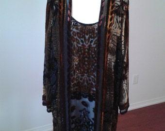 Vintage Badgley Mischka Velvet Burnout Silk 2pce Dress & Jacket.