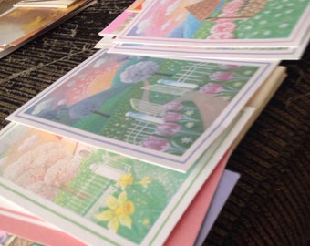 Free shipping- three sets of greeting cards- textured paper- 16