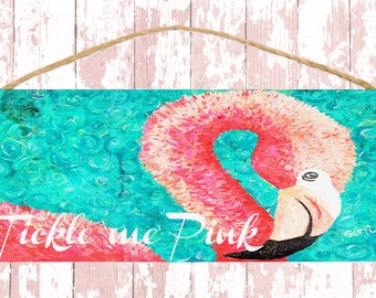 FREE SHIPPING!  Pink Flamingo on Wood Sign