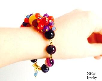 Gemstone bracelet, Multi Semi Precious Stone Bracelet, beaded women's jewelry, Statement Bracelet, multicolor