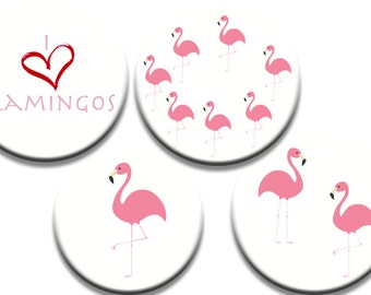"""GIFT SET OF A pack of 4 Flamingo pattern Weights in pink """"I heart flamingos"""""""