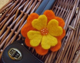 Handmade needle felted brooch, orange and yellow, encrusted with beads