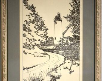 "R.J. Kuligoski Limited Edition Etching Titled ""Beaver Island Lighthouse"""