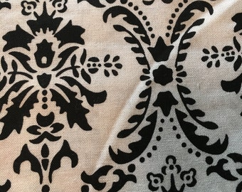 BLACK & WHITE DAMASK Printed Fabric by the yard