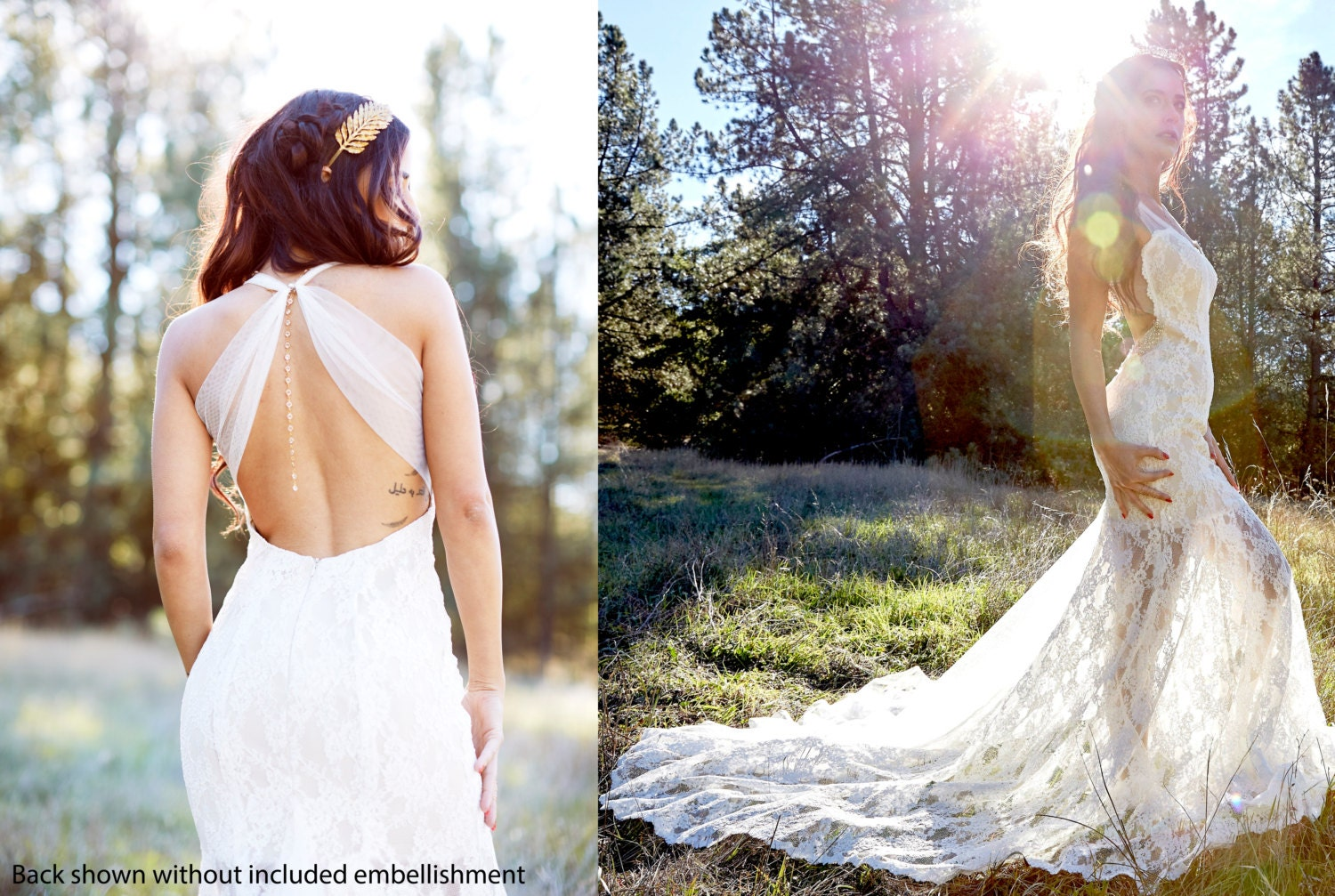 french lace trumpet shape lace and mesh low back wedding dress Low back Wedding Dress zoom