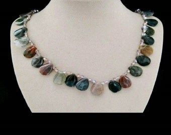 Indian agate, Pearl, necklace, necklace, silver plated clasp