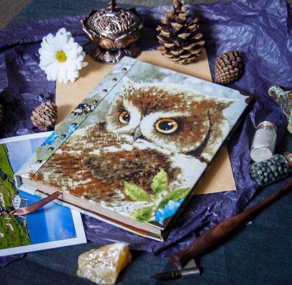 owl sketchbook, fabric journal, blank book, cotton