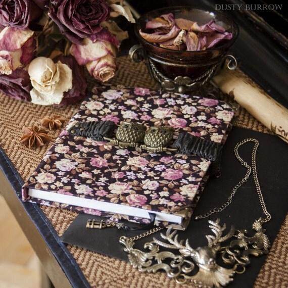 Rose Flowers sketchbook with owls buckle