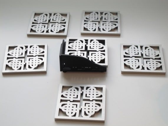 Abstract Hearts Design Laser Cut Wood Coaster Set of 6 with Holder