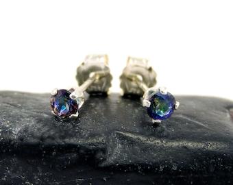 Mystic blue rainbow topaz earrings, round earrings mystic blue topaz, sterling silver stud earrings 3 mm