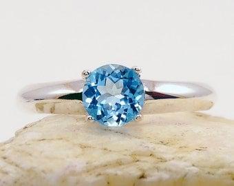 Ring topaz, swiss blue topaz ring, sterling silver ring, swiss blue topaz ring round 6 mm, swiss blue, ring size 3 4 5 6 7 8 9 10 11 12 13
