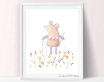 Kids wall art, Mouse illustration, Baby animals nursery art, watercolor print, Animal nursery decor, whimsical art