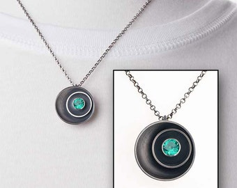 Emerald Birthstone Necklace - Sterling Silver