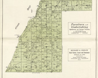 1914 Map of Egg Harbor Township Door County Wisconsin