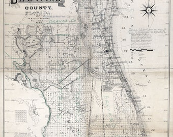 1893 Map of Brevard County Florida Cape Canaveral