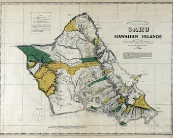 1881 Map of Oahu Hawaiian Islands