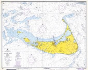 1968 Nautical Chart Map of Nantucket Island