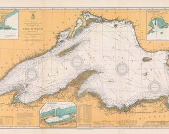1909 Nautical Map of Lake Superior