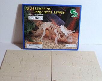 Kids craft kit - Wooden Dinosaur model kit - Triceratops - IQ Assembling Product Series