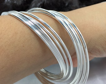 10 Interlocking Rings Bangle 925 Solid Silver Bracelet 7cm 2mm