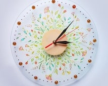 Hand painted glass wall clock, Tenderness of wildflowers Glass Clock, glass painting, tender clock, painting on glass, flower painting