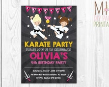Karate Birthday Party Invitation 2,Karate Birthday Invitation, Tae Kwon Do Birthday Invite,Chalkboard Karate invitation,Girl Karate invite