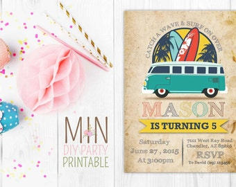 Surf Party Invitation Card,Surf Party Invitations, Surf Birthday Invitations, Surf Invitations, Luau invitation,Surf Invite, Surf Invitation