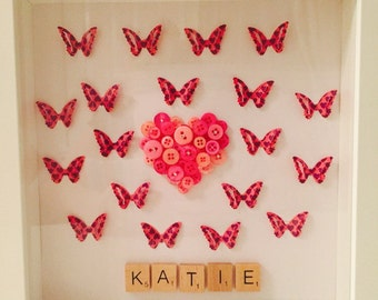 Personalised Butterfly, love Heart, Button Frame