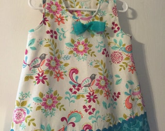Birds and blooms girls 2T sundress