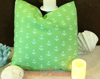 Key Lime Anchor  Print  Beach Pillow Covers Seaside Ocean Coastal Nautical Resort Decor