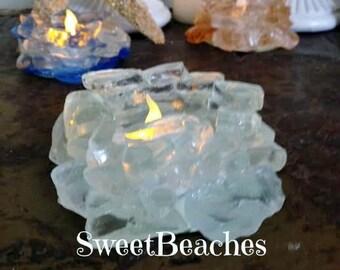 Beach Sea Glass  Candle Holder Home Cabana Decor  Beach Glass #71