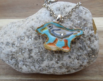 """Nautical Polymer Clay Hand Painted Necklace or Brooch """"Ocean Gull"""""""