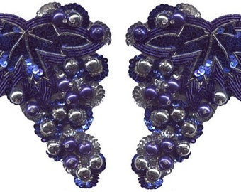 "5 3/4"" by 5"" Beaded and Sequin Grape Applique Set - 8 Colors w/ Free Shipping"