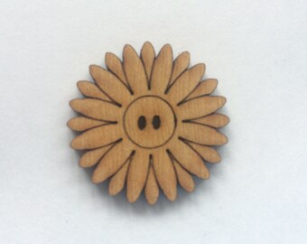 5 x Wooden Flower Buttons