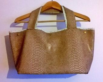 Brown beige crocodile handbag