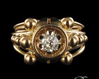 Ring old diamond yellow gold 18K Vintage 60's