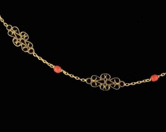Old pink beaded gold chain 18K pink coral necklace gold filigree pattern