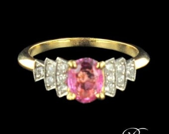 Pink sapphire ring white gold 18K modern brilliant diamonds