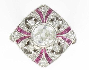 Ring art deco Ruby diamond calibrated Platinum Art deco