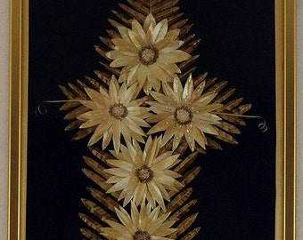 Picture done in straw technique, Gerbera Flower,picture made of hay