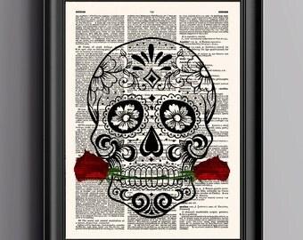 Skull Print,Sugar Skull Print,Human Skull Artwork,Skull Flower,Anatomy Print,Skeleton,Dictionary Print,Wall Art Print,Vintage Poster,045