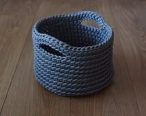 Handmade Crochet Basket, Basket with Handles,  Home Decor, Towel Basket, Storage Basket,