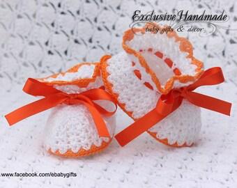 "Baby Booties  ""Sweet orange"", Crochet baby shoes, Baby crochet Boots, Newborn and Infant Booties, Boots for babies, Baby shower gift"