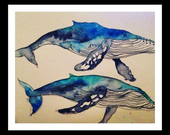 Watercolor humpback whales print