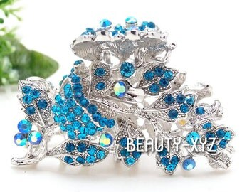 New blue Crystal Metal Alloy rose Hair Claws Pins Clips
