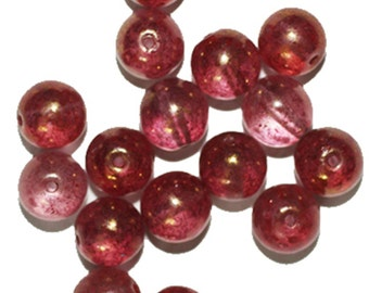 Rose Picasso Round Czech Pressed Glass Beads (pack of 16)